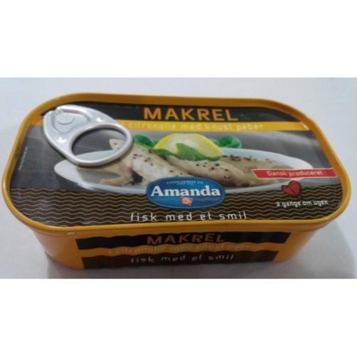 Cá thu fillet ngâm dầu chanh và hạt tiêu xay Amanda hộp 125g