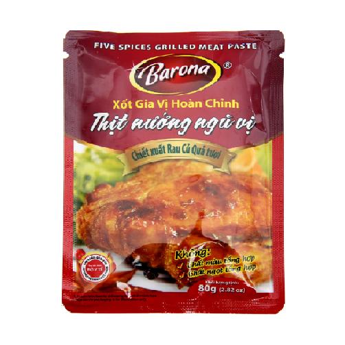 Sốt gia vị hoàn chỉnh – Thịt nướng ngũ vị Barona gói 80g