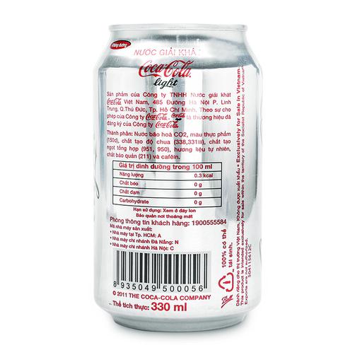 Nuoc Giai Khat Coca Cola Light Lon 330ml 1