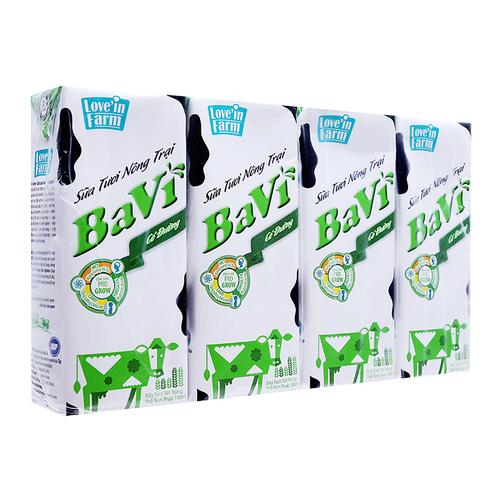 Sữa tươi tiệt trùng Ba Vì Love'in Farm có đường lốc 4 hộp x 180ml 1