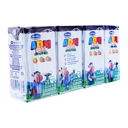 Sữa tiệt trùng sô cô la ADM+ Vinamilk lốc 4 hộp x 110ml 1