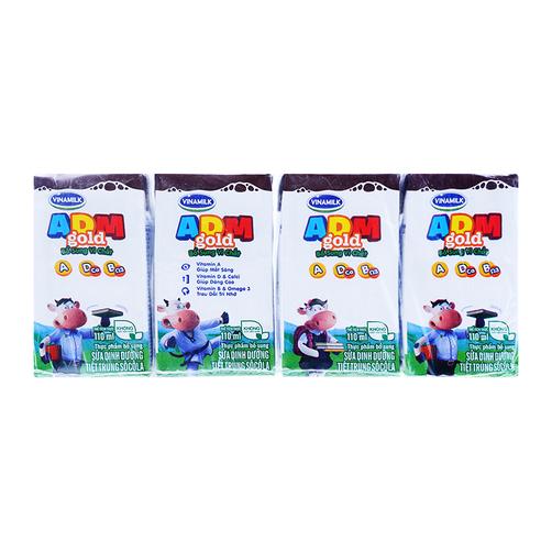 Sữa tiệt trùng sô cô la ADM+ Vinamilk lốc 4 hộp x 110ml