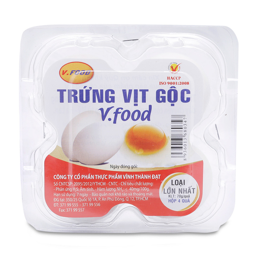 Trứng vịt gộc V.Food loại lớn nhất hộp 4 quả