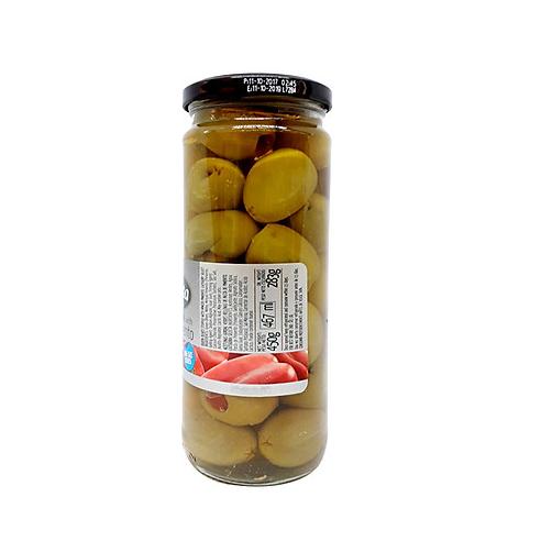 Olive Xanh Trái Lớn Nhồi Ớt Ngọt Fragata Lọ 450g x Thùng 12 Lọ,