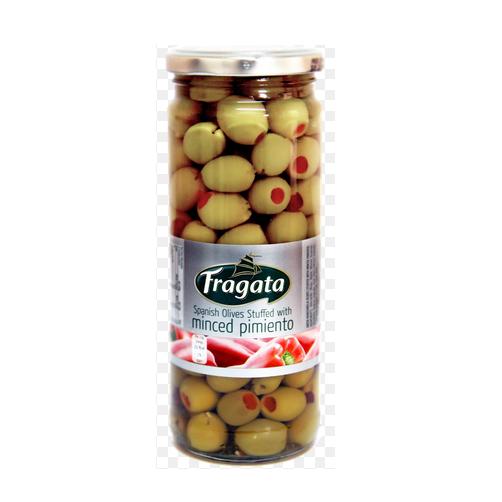 Olive Xanh Trái Nhỏ Nhồi Ớt Ngọt Fragata Lọ 450g x Thùng 12 Lọ