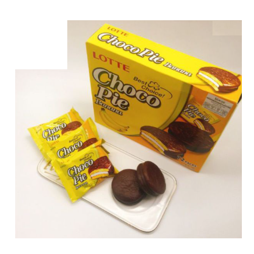 Banh Choco Pie Huong Vi Chuoi Lotte Hop 336g,