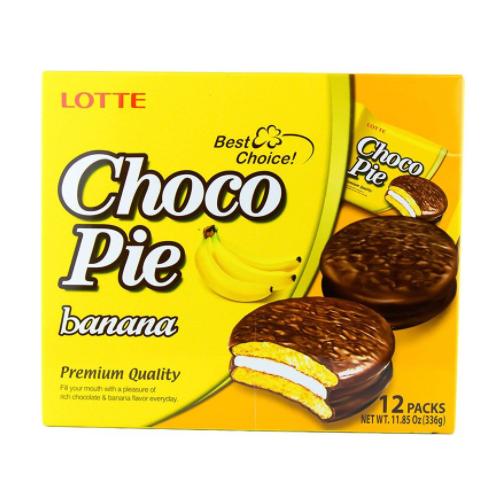 Banh Choco Pie Huong Vi Chuoi Lotte Hop 336g